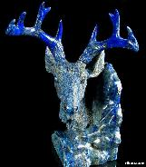 STUNNING Lapis Lazuli Carved Crystal Deer Head, Gemstone