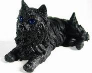 SUPERB Black Obsidian Carved Lying Cat, Sculpture, Sky Blue Topaz Eyes