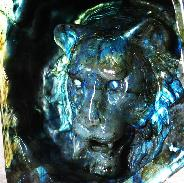 Labradorite Carved Lion Head, amazing flash