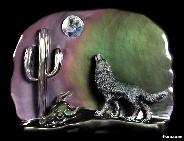 "10.6"" Rainbow Obsidian Carved Howling Coyote at Night in Moon Light"