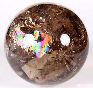"STUNNING Huge 4.0"" Smoky Quartz Sphere, Crystal Ball, rainbows"