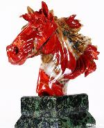 "9.6"" Red Jasper Carved Crystal Horse Head with Kambaba Jasper Stand"