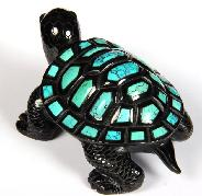 "Stunning Opal Eyes 4.4"" Turquoise & Black Obsidian Carved Crystal Turtle"