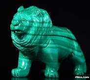 Malachite Carved Crystal Lion