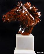 Mahogany Obsidian Carved Crystal Horse with white jade Base