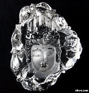 "Transparent! HUGE 5.3"" Quartz Rock Crystal Carved Crystal Kwan-yin"