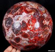 "Rare, Collectible, Titan 7.8"" Red Crazy Lace Agate Sphere, Crystal Ball, Geode"