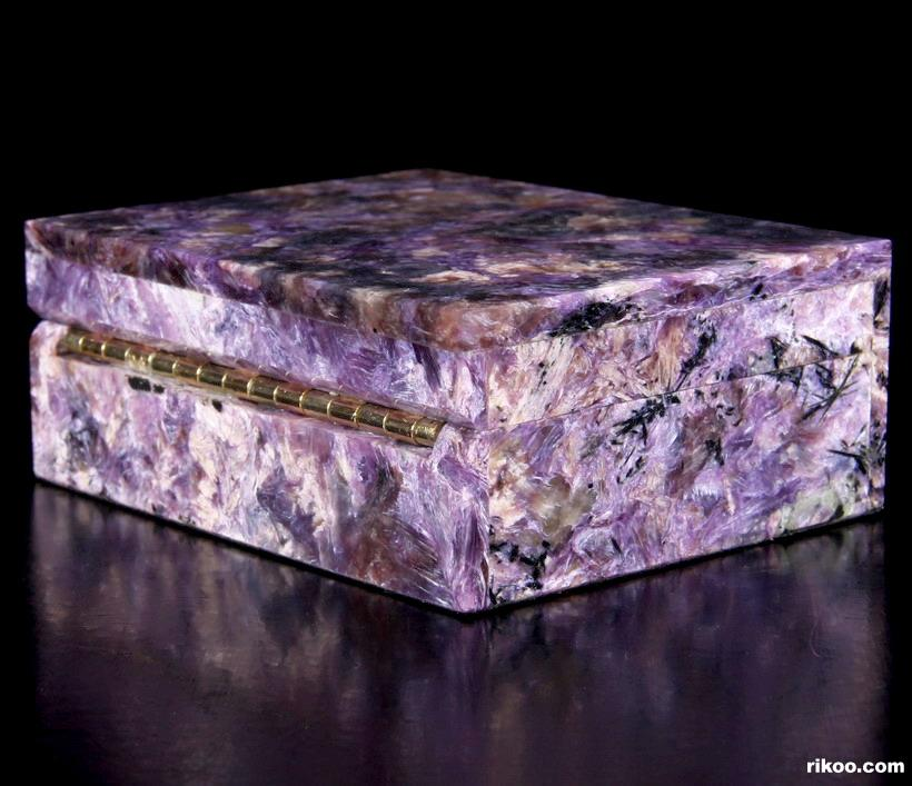 Russian Charoite Crystal Jewelry Box, Gemstone BOX