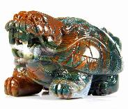 "4.5"" African Bloodstone Crystal Tortoise Body & Dragon Head, Realistic , God of the Northern Sky"