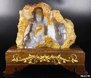 "Amazing 10.2"" Agate Holes Carved Crystal Kwan-Yin Sculpture With Stand"