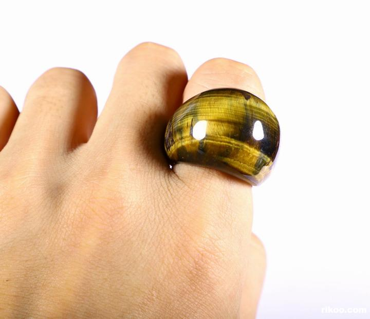Blue Tiger Iron Eye Crystal Ring