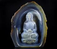 "Lifesized 6.9"" Agate Carved Crystal Kwan-yin Sculpture"