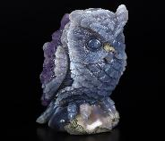 "Amazing Nice 2.8"" Agate Amethyst Geode Crystal Ball,Owl Sculpture"