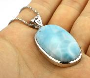 "1.5"" Larimar Carved Crystal Necklaces & Pendants"