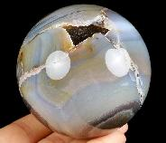 "3.2"" Gray & White Agate Carved Crystal Sphere Ball, Crystal Healing"