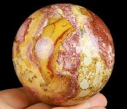 "3.0"" Red Crazy Lace Agate Carved Crystal Sphere Ball, Crystal Healing"