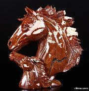 Red Noreena Jasper Carved Crystal Horse Heads