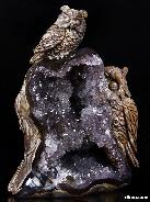 "AMAZING UNIQUE GEODE HUGE 5.9"" Dinosaur Egg Agate Carved Crystal Owls Sculpture"