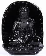 "HUGE 6.7"" Black Obsidian Carved Crystal Kwan-yin"