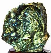 "STUNNING FLASH Huge 6.3"" Labradorite Carved Crystal Madonna & Children Sculpture"