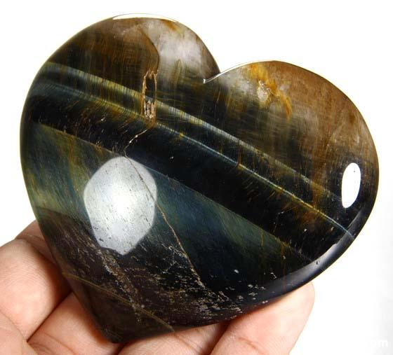 Blue & Gold Tiger Eye Crystal Heart