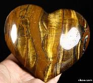 "Amazing Flash Gemstone Huge 5.1"" Gold Tiger Eye Carved Crystal Heart"