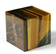 "1.5"" Blue & Gold Tiger Eye Carved Crystal Cube"