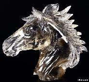 "Nice Clear Huge 7.4"" Smokey/Smoky Quartz Rock Crystal Carved Crystal Horse Head"