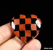 "1.3"" Red Jasper & Black Obsidian Carved Crystal Heart"
