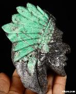 "Huge Gemstone 4.5"" Emerald Carved Crystal Indian Chief"