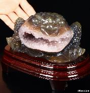 "Unique Huge 5.6"" Amethyst Geode Agate Carved Crystal Frog Sculpture"