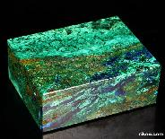 "Gemstone Huge 4.2"" Azurite& malachite Carved Crystal Jewelry Box"
