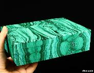 "Gemstone Huge 8.1"" Malachite Carved Crystal Jewelry Box"