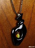 Black Obsidian Carved Crystal Pendant with Opal