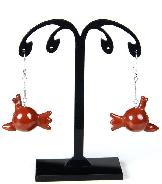 Gemstone Red Jasper Carved Crystal Birds Earrings with Sterling Silver