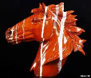 Awesome Huge Red Jasper Carved Crystal Horse Head Sculpture