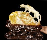 "Giant 9.4"" Coral Fossil Crystal Leopard Sculpture, Realistic, Crystal Healing"