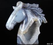 "Lifesized 7.4"" Agate Gode Carved Crystal Horse Head Sculpture"