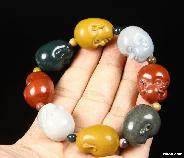 "Original 4.1"" Bloodstone Carved Crystal Buddha Bracelets"