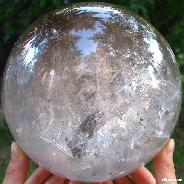 "TITAN 6.4"" Smoky Quartz Rock Crystal Sphere, Crystal Ball,rainbows"