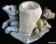 High-fired Clay and Glazes Polar Bear SCULPTURE Crystal Stand