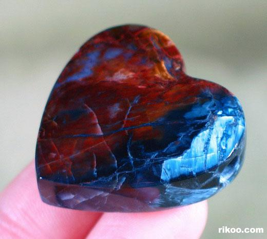 Blue & Red Pietersite Heart Pendant