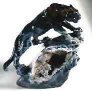 STUNNING Agate Carved Crystal Leopard