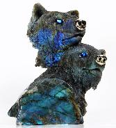STUNNING Labradorite & Pyrite Carved Crystal Wolf Heads, flash