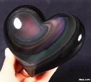 Amazing Rainbow Obsidian Carved Heart