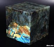 Labradorite Carved Cube, flash
