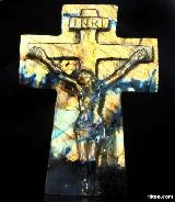 "AMAZING FLASH 5.4"" Labradorite Carved Crystal Jesus Cross"