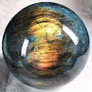 "Unusual Flash, Titan 5.9"" Labradorite Sphere, Crystal Ball"