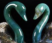 Labradorite&Green Moss Agate Carved Crystal Swans Set, amazing flash