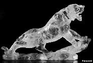 "8.5"" Quartz Rock Crystal Carved Crystal Tiger"